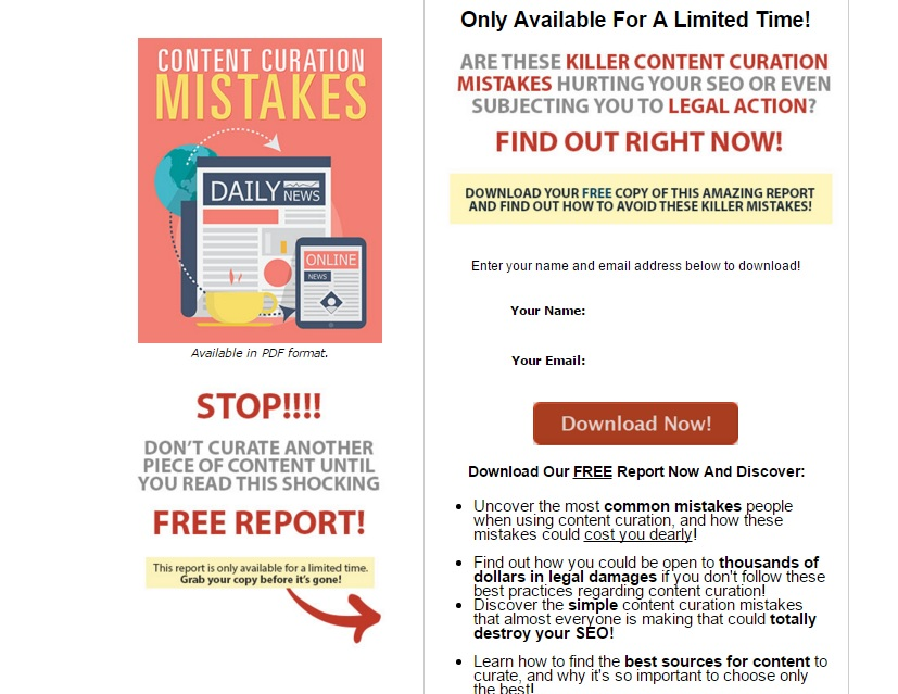 content curation opt-in page