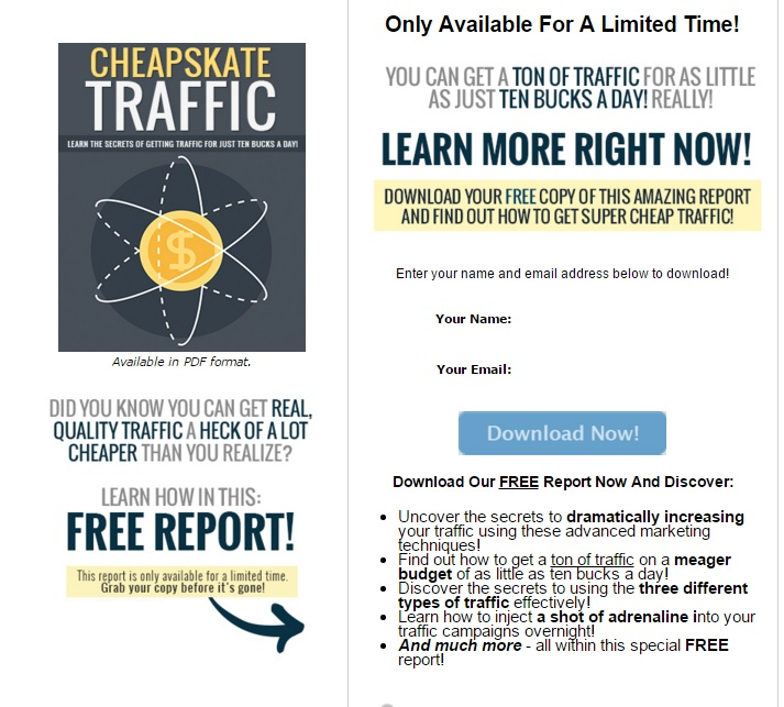 traffic opt in page